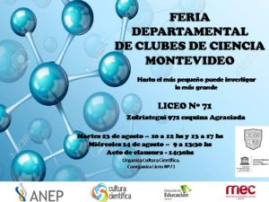 Afiche Feria Departamental de Clubes de Ciencia Montevideo